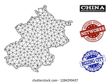 Black mesh vector map of Beijing Municipality isolated on a white background and scratched stamp seals for networks. Abstract lines, dots and triangles forms map of Beijing Municipality.