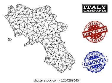 Black mesh vector map of Campania region isolated on a white background and rubber watermarks for networks. Abstract lines, dots and triangles forms map of Campania region.
