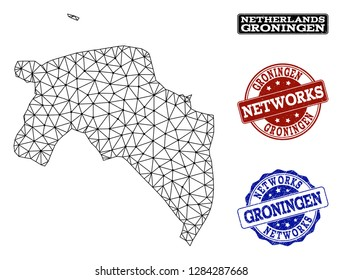 Black mesh vector map of Groningen Province isolated on a white background and grunge watermarks for networks. Abstract lines, dots and triangles forms map of Groningen Province.