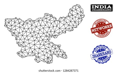 Black mesh vector map of Jharkhand State isolated on a white background and grunge watermarks for networks. Abstract lines, dots and triangles forms map of Jharkhand State.
