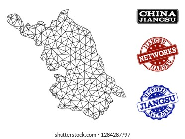Black mesh vector Map of Jiangsu Province isolated on a white background and grunge watermarks for networks. Abstract lines, dots and triangles forms Map of Jiangsu Province.