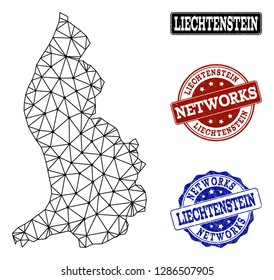 Black mesh vector map of Liechtenstein isolated on a white background and grunge stamp seals for networks. Abstract lines, dots and triangles forms map of Liechtenstein.