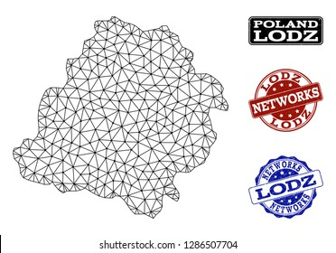 Black mesh vector map of Lodz Province isolated on a white background and scratched stamp seals for networks. Abstract lines, dots and triangles forms map of Lodz Province.