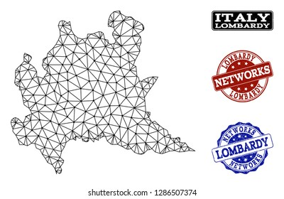 Black mesh vector map of Lombardy region isolated on a white background and rubber watermarks for networks. Abstract lines, dots and triangles forms map of Lombardy region.