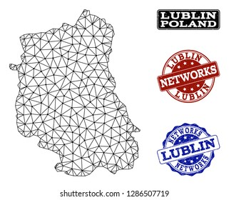 Black mesh vector map of Lublin Province isolated on a white background and rubber stamp seals for networks. Abstract lines, dots and triangles forms map of Lublin Province.