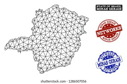 Black mesh vector map of Minas Gerais State isolated on a white background and scratched watermarks for networks. Abstract lines, dots and triangles forms map of Minas Gerais State.