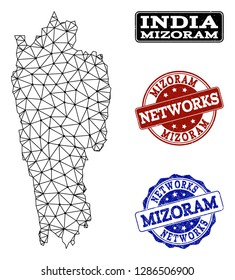 Black mesh vector map of Mizoram State isolated on a white background and rubber watermarks for networks. Abstract lines, dots and triangles forms map of Mizoram State.