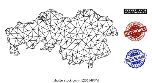 Black mesh vector map of North Brabant Province isolated on a white background and rubber stamp seals for networks. Abstract lines, dots and triangles forms map of North Brabant Province.