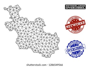 Black mesh vector map of Overijssel Province isolated on a white background and rubber stamp seals for networks. Abstract lines, dots and triangles forms map of Overijssel Province.