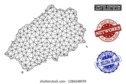 Black mesh vector map of Saint Helena Island isolated on a white background and rubber watermarks for networks. Abstract lines, dots and triangles forms map of Saint Helena Island.