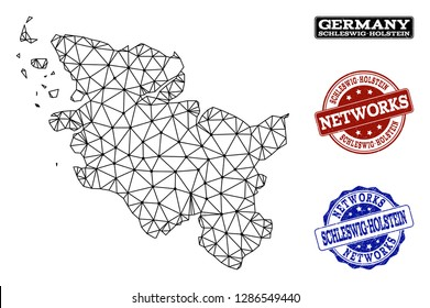 Black mesh vector map of Schleswig-Holstein State isolated on a white background and rubber watermarks for networks. Abstract lines, dots and triangles forms map of Schleswig-Holstein State.