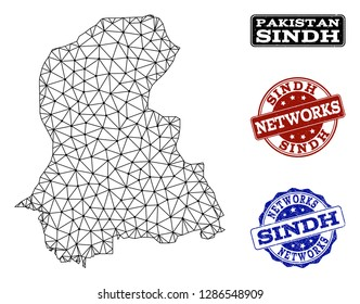Black mesh vector map of Sindh Province isolated on a white background and grunge stamp seals for networks. Abstract lines, dots and triangles forms map of Sindh Province.