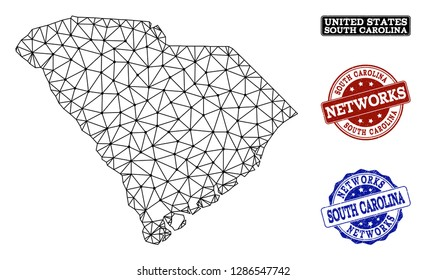 Black mesh vector map of South Carolina State isolated on a white background and scratched stamp seals for networks. Abstract lines, dots and triangles forms map of South Carolina State.