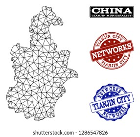 Black mesh vector map of Tianjin Municipality isolated on a white background and grunge watermarks for networks. Abstract lines, dots and triangles forms map of Tianjin Municipality.