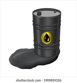 Black metal barrel and spilled oil. Barrel with spilled oil isolated on white background. Concept of pollution. 200L Industrial Oil Barrel. Single black barrel. 3D rendering.