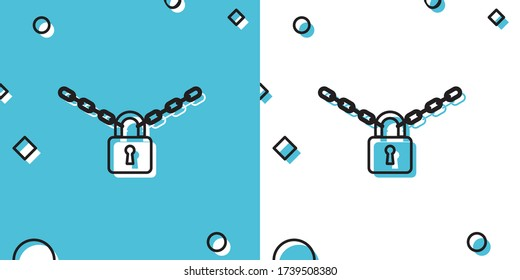 Black Metal chain and lock icon isolated on blue and white background. Padlock and steel chain. Random dynamic shapes. Vector Illustration