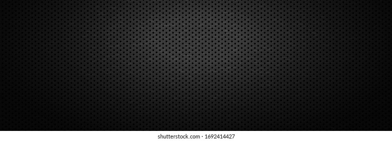Black metal perforated backdrop with spot of light. Surface of metal plate with round holes. Dark industrial background with perforation. Abstract banner with dots. Monochrome vector illustration.