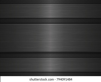 Black metal texture background. Vector illustration