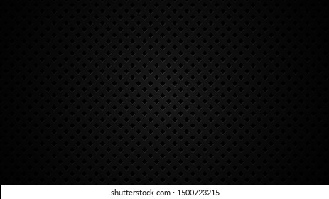 Black metal texture steel background. Perforated sheet metal. Vector illustration.