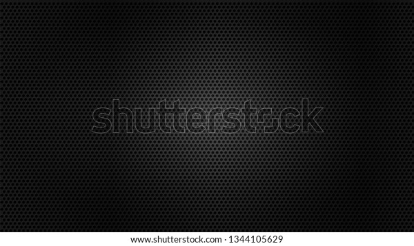 Black metal texture steel background. Perforated sheet metal.
