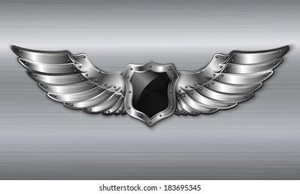 Black metal winged 3d shield emblem vector illustration