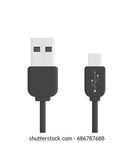 Black micro cables icon. Smart phone recharge supply or PC peripherals connector. Cable mobile devices symbol. Vector illustration