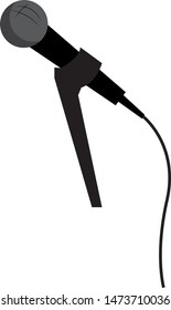 A black microphone in a microphone holder, vector, color drawing or illustration.