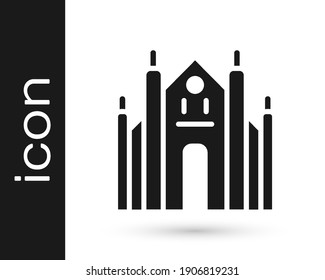 Black Milan Cathedral or Duomo di Milano icon isolated on white background. Famous landmark of Milan, Italy.  Vector