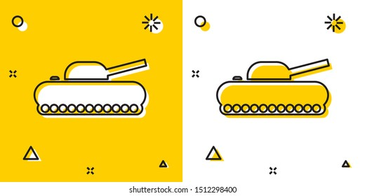 Black Military tank icon isolated on yellow and white background. Random dynamic shapes. Vector Illustration