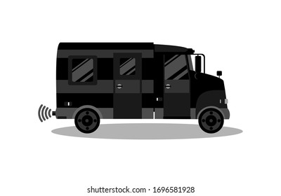 Black mini truck in a flat style. Isolated color vector illustration