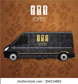 black Mini Van Corporate identity Menu Restaurant Background coffee beans brow