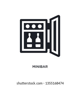 black minibar isolated vector icon. simple element illustration from hotel and restaurant concept vector icons. minibar editable logo symbol design on white background. can be use for web and mobile
