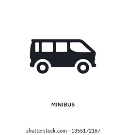 black minibus isolated vector icon. simple element illustration from transportation concept vector icons. minibus editable logo symbol design on white background. can be use for web and mobile