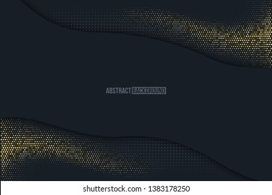 Black minimalistic abstract background. Business presentation, web banner vector backdrop. Mosaic with golden effect. Yellow, beige shiny particles wave. Halftone dots, sparkles texture illustration