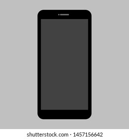 black mobile phone icon with blank dark screen on grey background. vector illustration