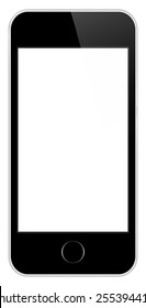 Black Mobile Phone In iPhone Style Isolated