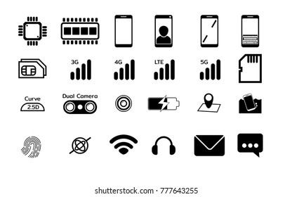 Black Mobile phone Specification Flat icons set Isolate on white background. Vector illustration.