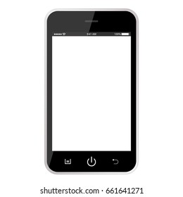 Black mobile phone with white screen. Smarphone vector eps10. Smartphone black color
