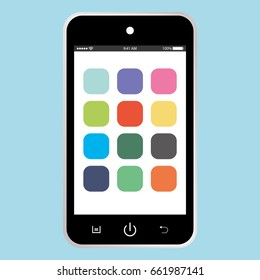 Black mobile phone with white screen on blue background. smartphone icon eps10.
