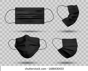 Black mockup protective face mask or medical mask. To protect coronavirus and infection. Medical mask set isolated on transparent background. Realistic vector illustration