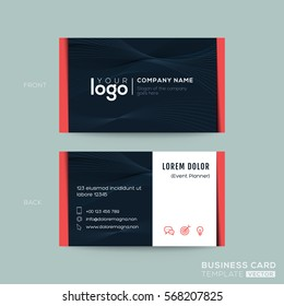 black modern business card namecard design with swirl wave line stripes