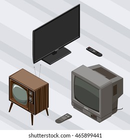 Black Modern LED TV with remote control and wooden Retro TV isometric vector
