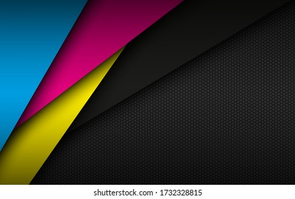 Black modern material background with hexagonal mesh pattern. Overlapped sheets of paper in cmyk colors. Template for your business. Vector abstract widescreen background