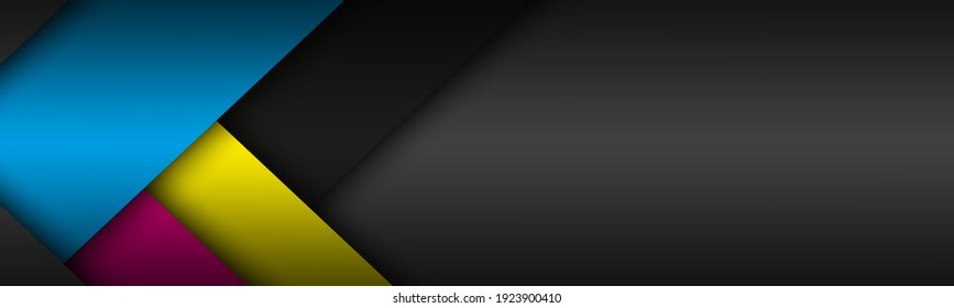 Black modern material background with overlapped sheets of paper in cmyk colors. Template for your business. Vector abstract widescreen background