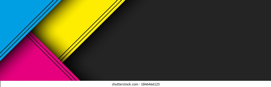Black modern material header with overlapped layers with cmyk colors. Banner for your business. Vector abstract widescreen background