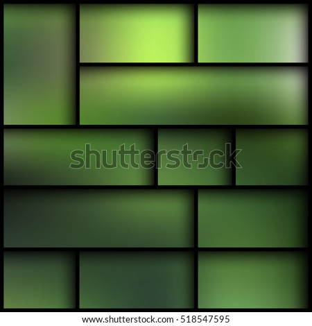 Black Modern Shelves On The Blurred Photo Green Wallpaper Vector Illustration Empty
