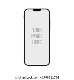 Black modern smartphone mockup vector illustration. Vector mockup phone for visual ui app demonstration