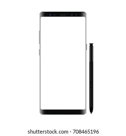 Black modern smartphone with stylus isolated on white background. Cellphone Samsung Galaxy Note8 mockup with blank screen - front view. Vector illustraion