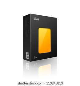 Black Modern Software Package Box With Orange,Yellow Window For DVD Or CD Disk EPS10