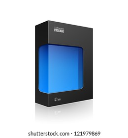 Black Modern Software Product Package Box With Blue Window For DVD Or CD Disk EPS10